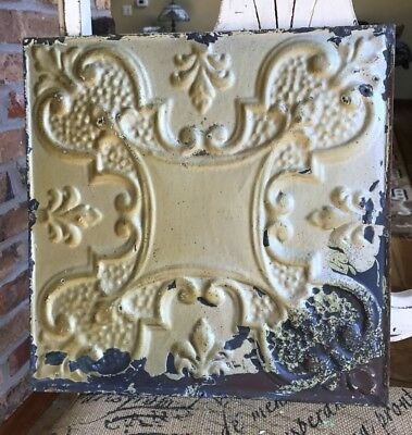 "12"" Antique Tin Ceiling Tile -- Gold Colored Paint with Ornate Design - A1"