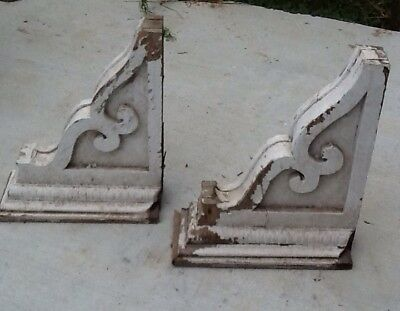 Large Antique/Vintage Victorian Corbels - Scroll Work & Acorn Trim -White - Pair