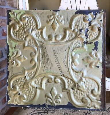"12"" Antique Tin Ceiling Tile -- Gold Colored Paint with Ornate Design - A5"