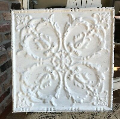 "12"" Antique Tin Ceiling Tile -- Off White Paint with Scrolling Design - A1"