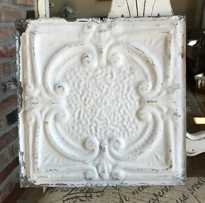 "12"" Antique Tin Ceiling Tile -- Cream Colored Paint with a Framed Design - A1"