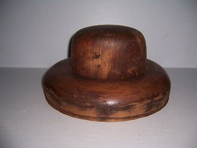 Antique Millinery Wood Hat Block Mold Brim Form 5 7/8, 6 7/8