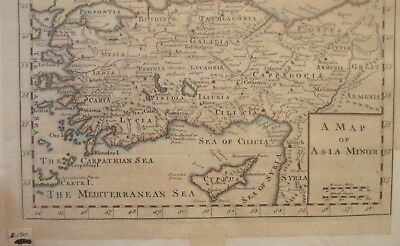 c.1700 MAP OF ASIA MINOR SYRIA ARMENIA MEDITERRANEAN SEA CYPRUS GALATIA LESBOS