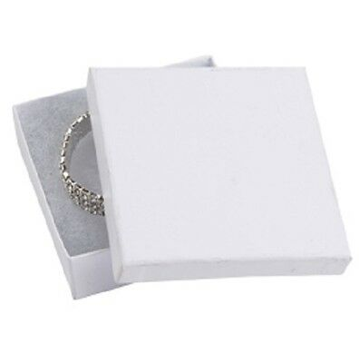 """Jewelry Boxes 100 #33 White Matte Finish Cotton Filled Retail Gift 3 ½"""" X 3 ½"""""""