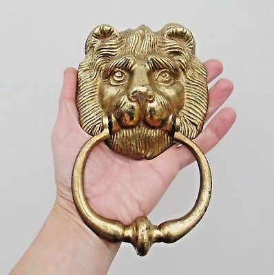 Large Impressive Reclaimed English Brass Lions Head Front Door Knocker