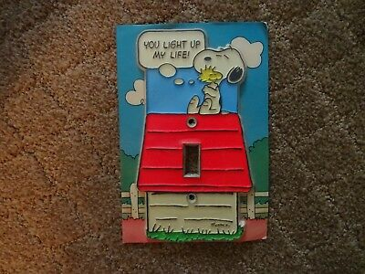 """New Snoopy/woodstock  """"you Light Up My Life"""" Single Switch Plate Cover"""