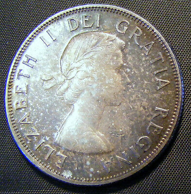 1958 Proof Like Canadian 50 Cent/Half Dollar Coin Toned Unc.  A Must See!!