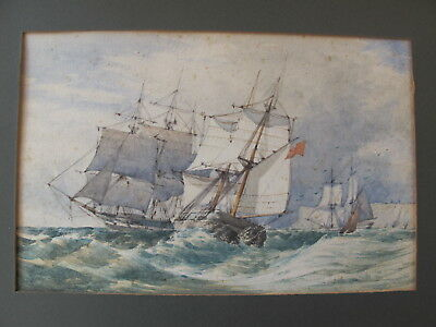Superb Antique Watercolour Of Sailing Ship Off Dover 19Th Century