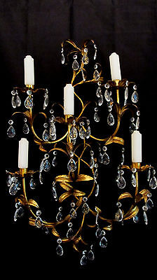 Large Italian Gold Gilt Tole Sconce Crystal Candelabra Paris Hollywood Chic