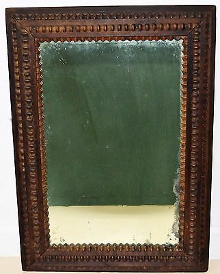 Antique English Wall Mirror Hand Crafted Wood Beaded Frame Jacobean Style