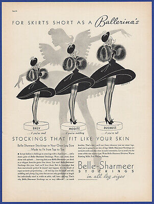 Vintage 1937 BELLE-SHARMEER Stockings Nylons Women's Fashion Print Ad 30's