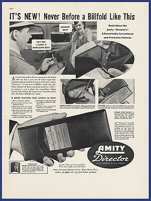 Vintage 1937 AMITY DIRECTOR Billfold Wallet West Bend WI Print Ad 30's