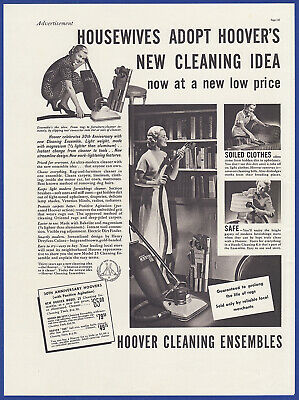 Vintage 1937 HOOVER Vacuum Cleaner Model 25 One Fifty 300 Print Ad 30's