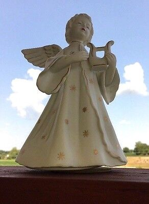 Vintage SB Schmid Bros Christmas Angel Music Box, White Porcelain Bisque, Gold 1