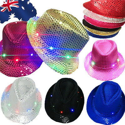 LED Flashing Light Up Hat Sequin Tribly Jazz Haloween Party Electric Cap CAHA103