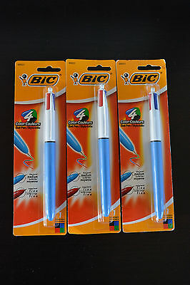 3 PACK - Classic Bic Retractable Ballpoint Pen, Fine Point, 4 Color Ink