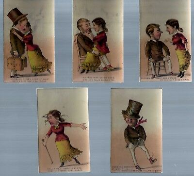 Set of 5 late 1800's advertising trade cards - No advertising