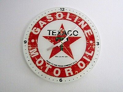 Texaco Gasoline And Motor Oil 13 3/4 Inch Glass Clock  FREE SHIPPING!!