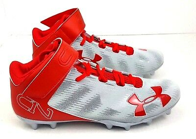5351471da629 UNDER ARMOU UA C1N Mid MC Men's SZ 10.5 Cam Newton Football CleatS Red/Gray
