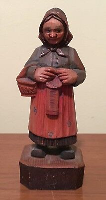 Vintage Italy Hand Carved Wood Old Woman with Basket Figure
