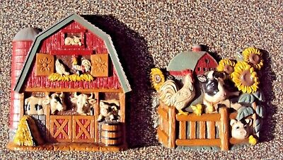Vtg Set of 2 Home Interior Plastic Barn-Yard Plaques - Cows, Pig, Rooster -Nice!