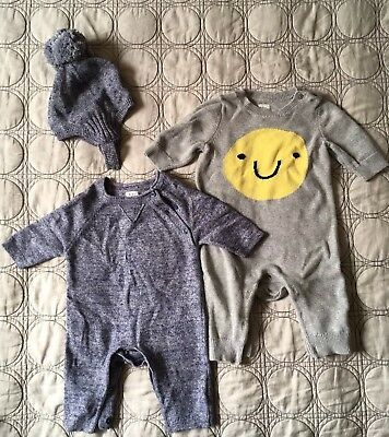 Gap Knit Sweater Rompers Playsuit Lot 0-3 Months Newborn Blue Gray Hat Cozy Baby
