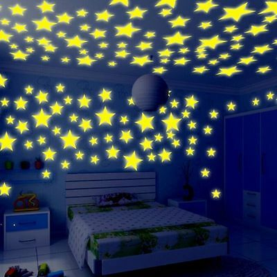 100PCs/Set Wall Stickers Stars Luminous Glow In The Dark Kids Nursery Room Decor