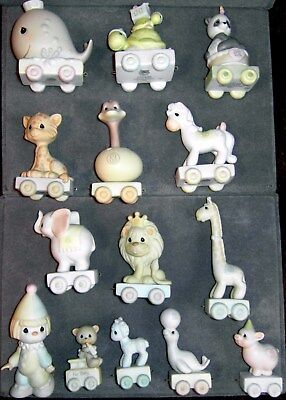 ENESCO Rare Precious Moments BIRTHDAY TRAIN, 14 piece SET, birth-12 yrs, no box