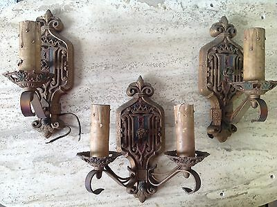 SET of 3 ANTIQUE Cast Iron ARTS & CRAFTS Spanish Revival WALL SCONCES 1920s-30s