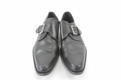 Dolce and Gabbana Size 9.5 Single Monk Strap Black Leather Dress Shoes Italy