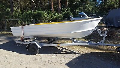Tinnie boat with trailer & motor