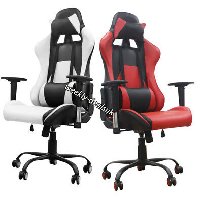 Swivel PU Leather Office Chair Racing Gaming Style Reclining Adjustable PC Seat