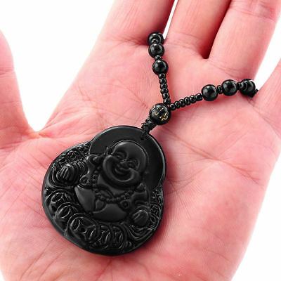Natural Obsidian Handmade Carved Buddha Head Lucky Amulet Pendant Necklace