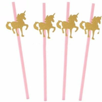 25pcs Pink Paper Straws with Gold Glitter Unicorn for Kids Birthday Party Decor