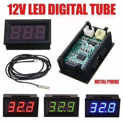 DC 12V LED Digital Thermometer -50 ~ 110°C Temperature Sensor Detector Tester