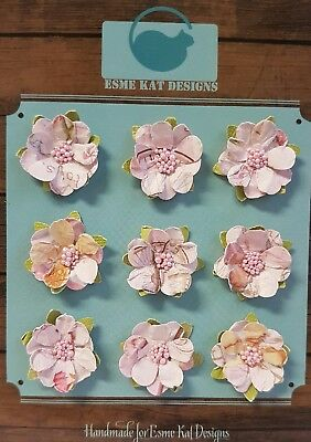 Small paper flowers for scrapbooking - Pale Pink - pk 9
