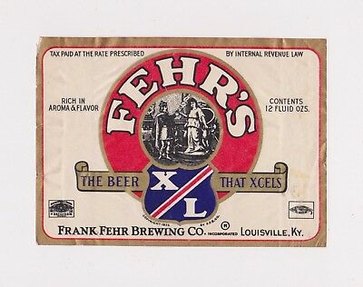 1930s I-R-T-P FEHR'S XL BEER label from KENTUCKY!