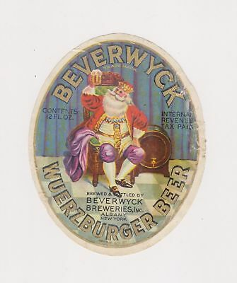 1940s I-R-T-P BEVERWYCK WUERZBURGER BEER label from NEW YORK!
