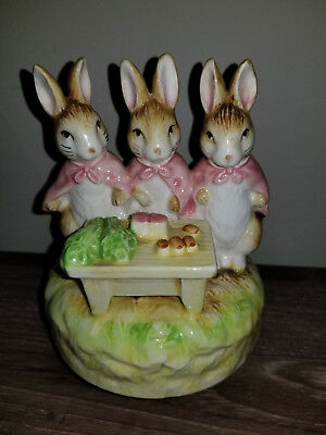 Beatrix Potter Vintage Collectable Schmid Music Box Flopsy Mopsy Cottentail 1983