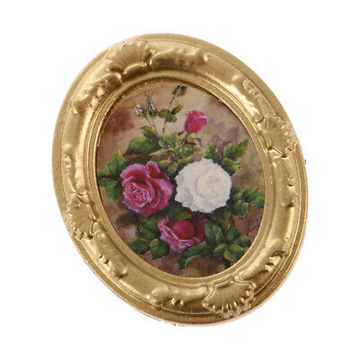 Dolls house Vintage Mini Flower Picture in Frame 12th Miniature Mural Decor