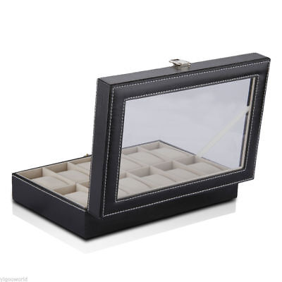 12 Grids Leather Watch Display Case Jewelry Collection Storage Holder Box
