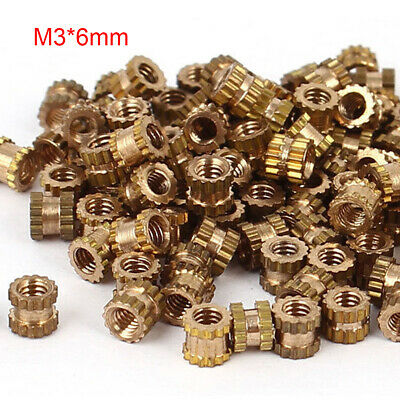 100Pcs M3x6mm Threaded Round Metal Knurl Thread Insert Nuts Brass Tone Nuts Hot