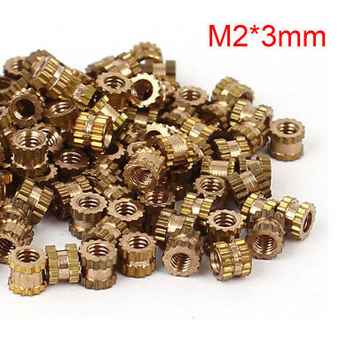 100PCS M2 x 3mm Brass Cylinder Knurled Threaded Round Insert Embedded Nuts