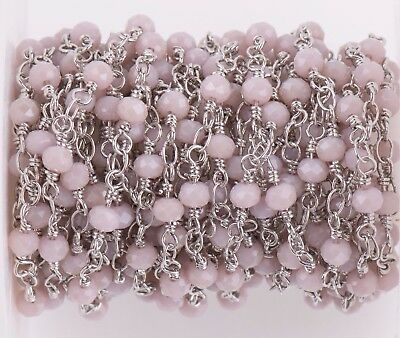 1 yard BLUSH Crystal Rosary Bead Chain, silver double wrap, 4mm faceted fch0631a
