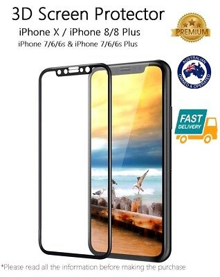 3D Tempered Glass Screen Protector iPhone X & XS iPhone 8 Plus 7 6 6S 7 plus