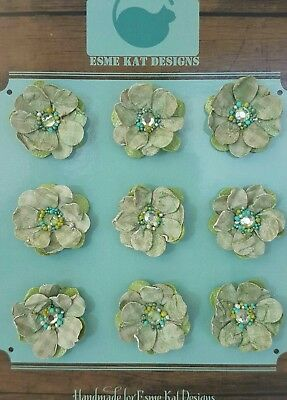 Small paper flowers for scrapbooking - Pale Green - pk 9