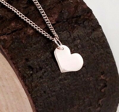 Solid 9ct Rose Pink Gold Solid Heart Pendant Engravable