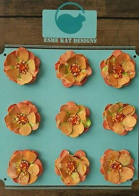 Small paper flowers for scrapbooking - Orange Buttercup - pk 9