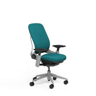 Large Steelcase Leap PLUS Adjustable Chair V2 - Buzz2 Cyan Fabric 500lb Platinum
