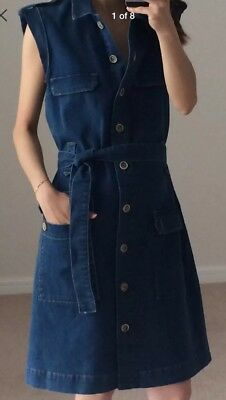6bc2780defdd New Massimo Dutti (Zara Group) Denim Boutonnés Dress Belted Size XS (6 UK
